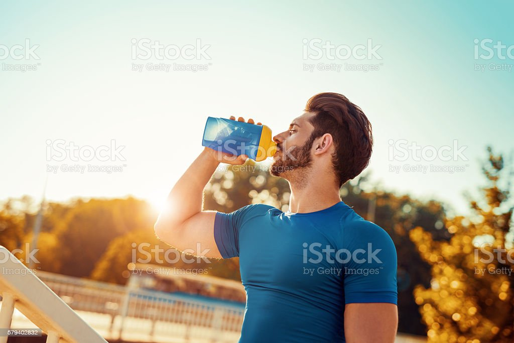 Young male jogger stock photo