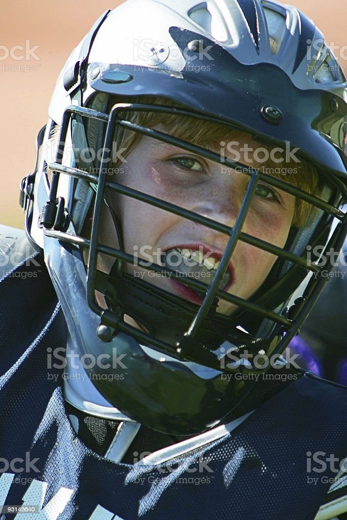 Young Male Lacrosse Player Smiles in Headshot stock photo