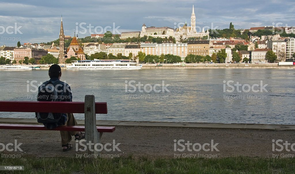 Young male looking across the Danube river in Budapest royalty-free stock photo