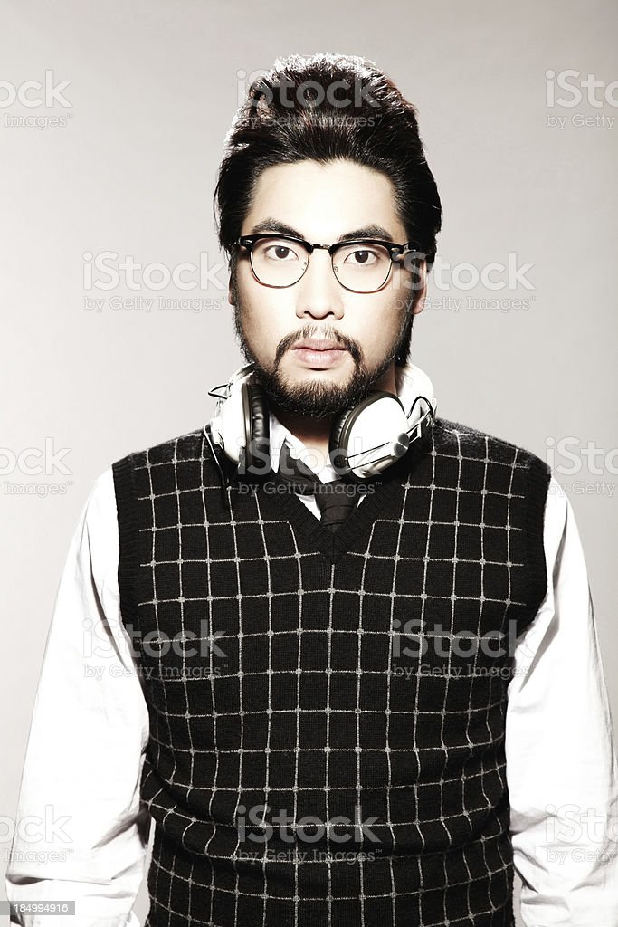 Young Male Model with Headphones royalty-free stock photo