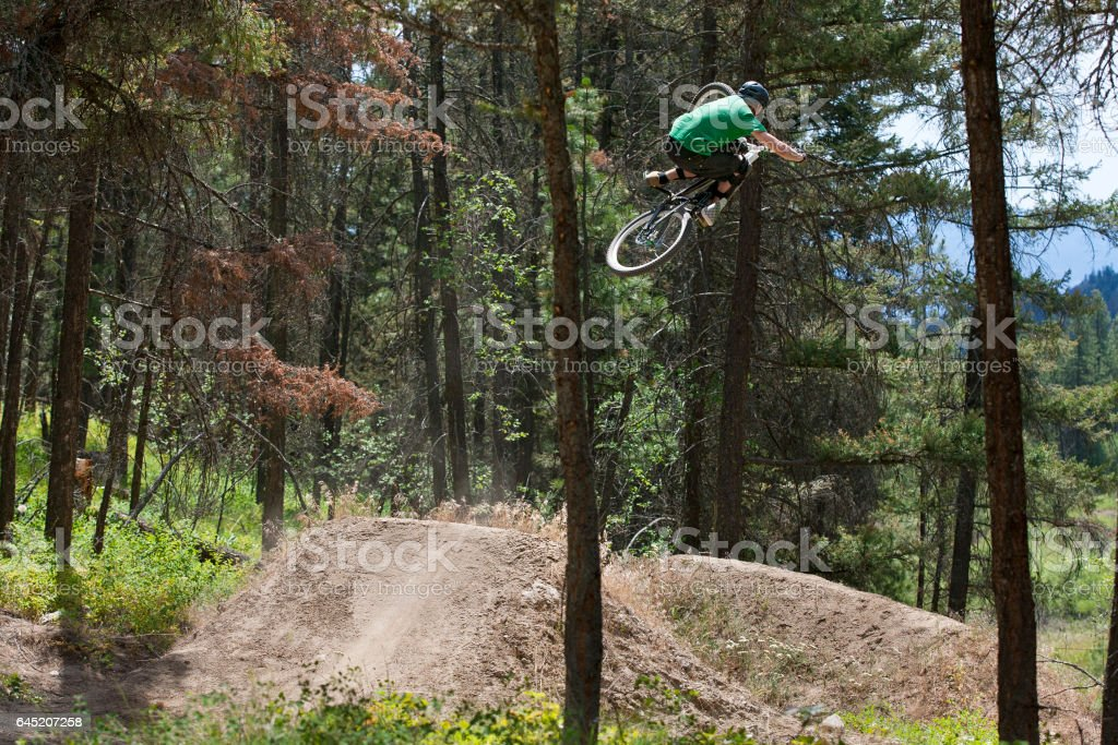 A young male mountain bike rider hits a big dirt jump on a downhill trail in the forest. stock photo