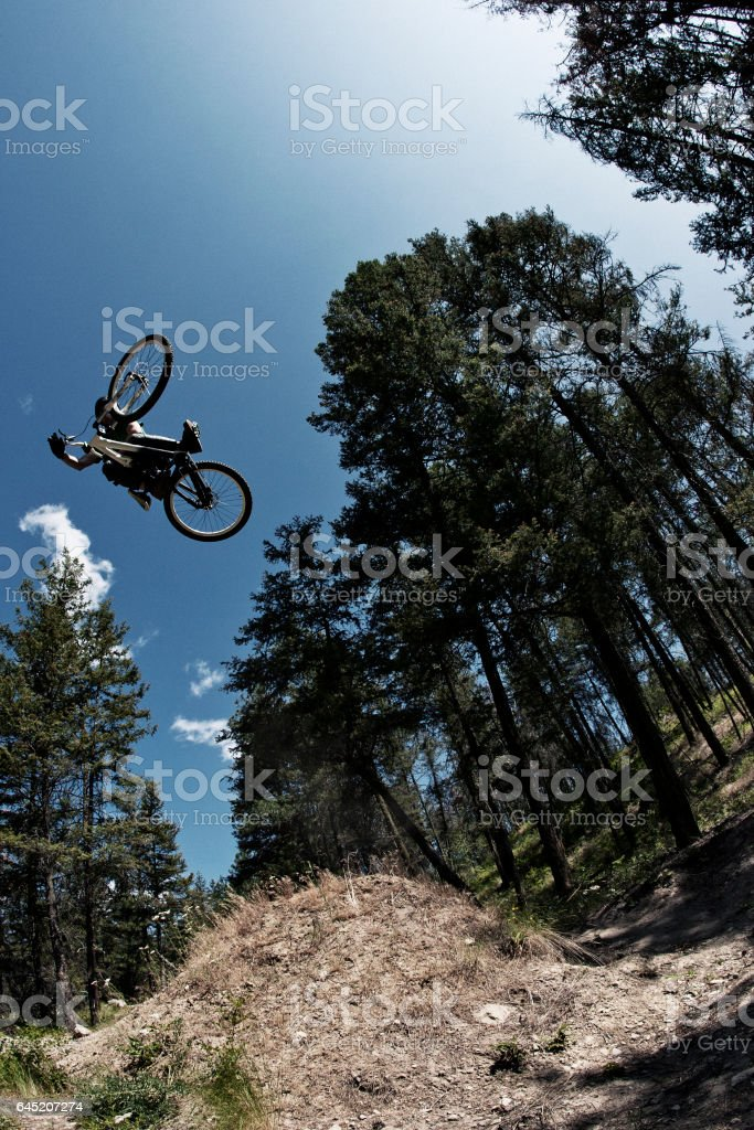 A young male mountain bike rider hits a big dirt jump on a sunny day. stock photo