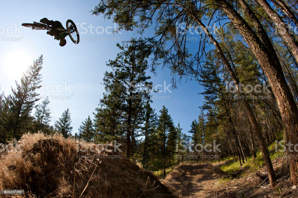 A young male mountain biker does a 360 trick off a dirt jump while riding a downhill trail at the end of the day. stock photo