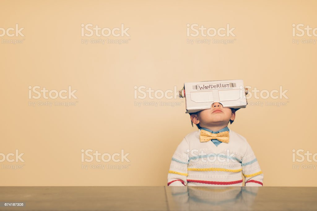 Young Male Nerd with Virtual Reality Headset stock photo