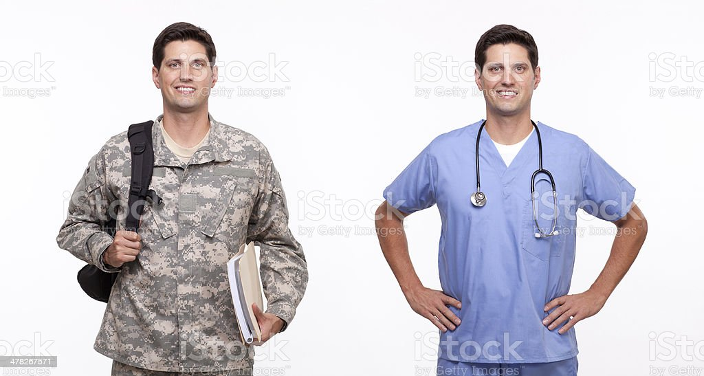 young male nurse and a soldier with backpack stock photo