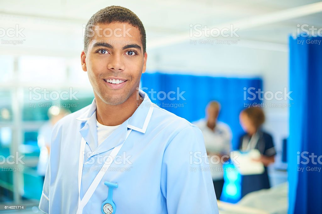 young male nurse on the ward stock photo