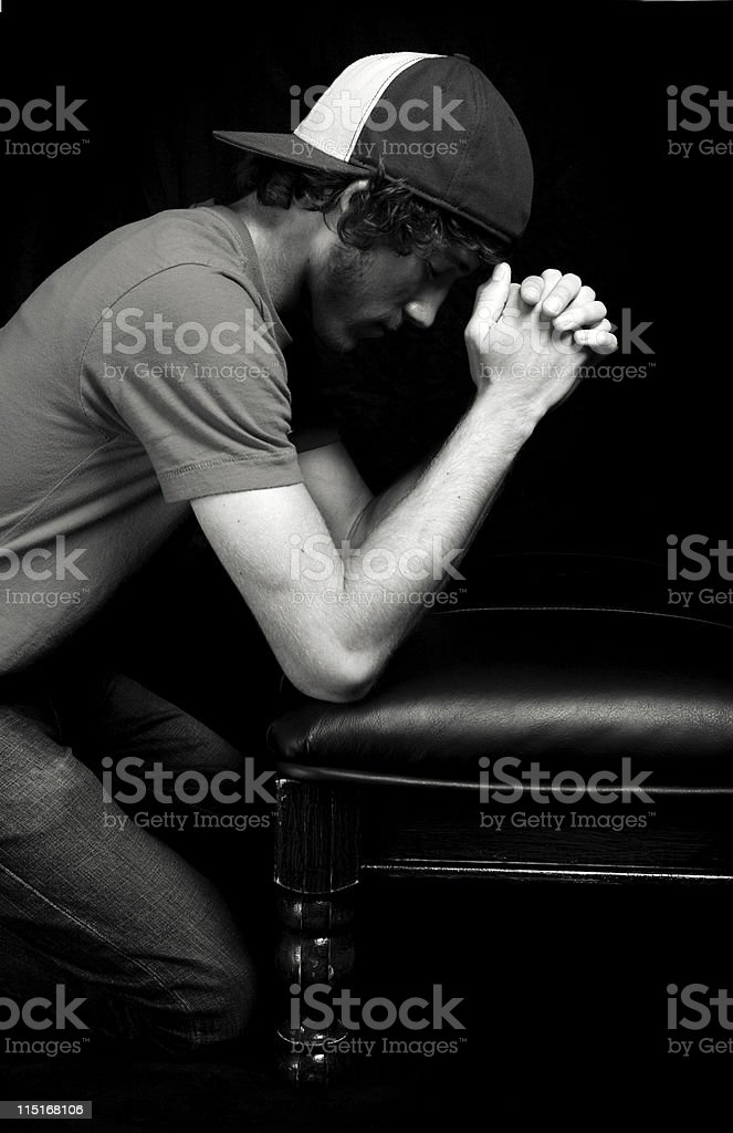 young male prayer portrait royalty-free stock photo