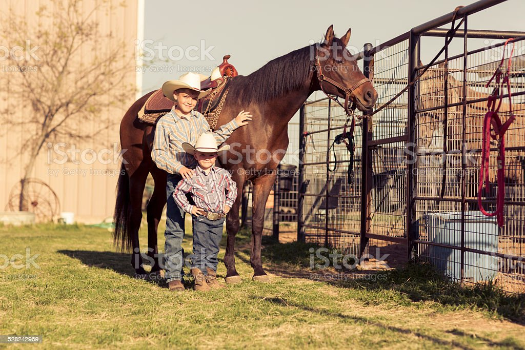 Young Male Ranchers stock photo