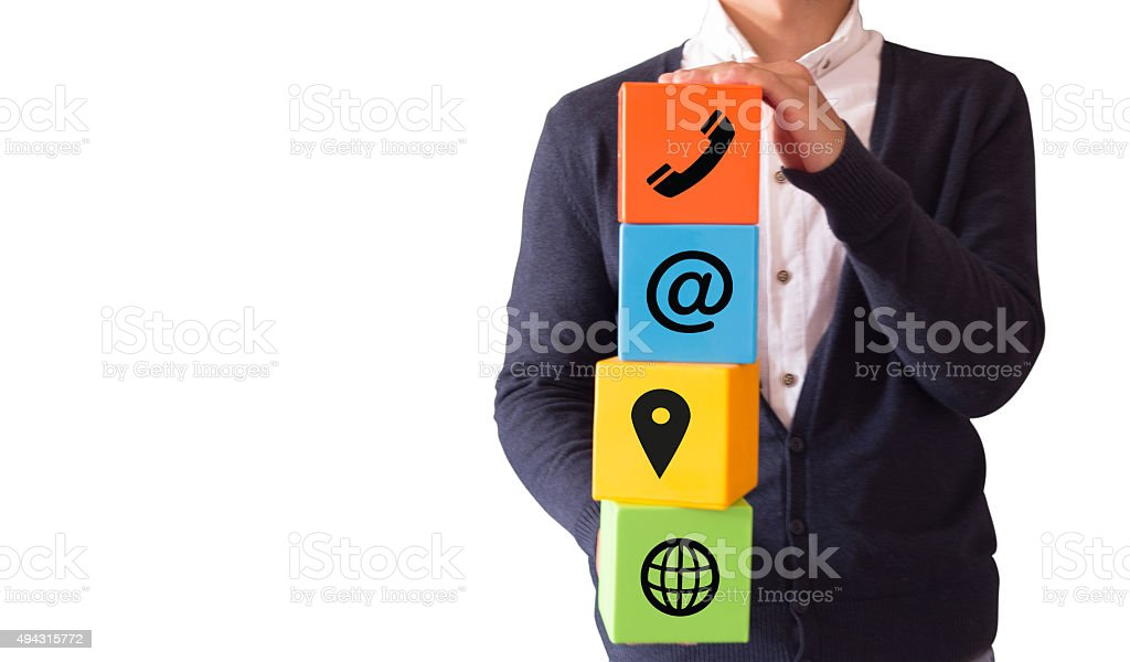 Young male showing contact and support icons stock photo
