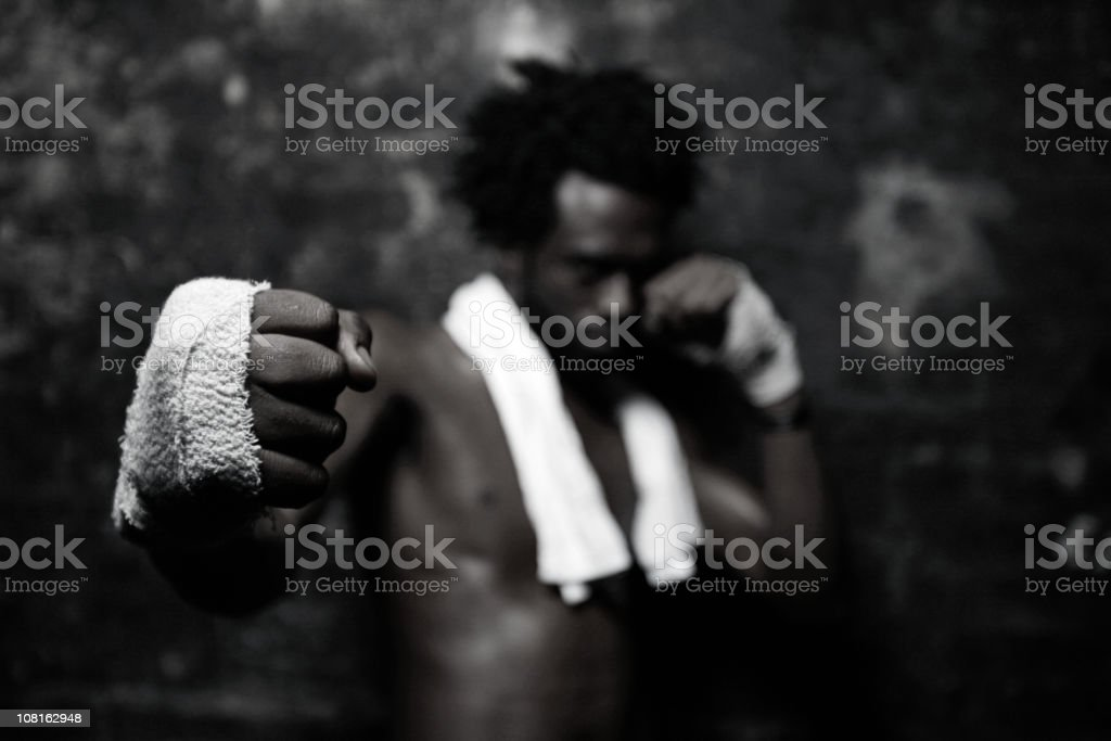 Young male street fighter, black and white royalty-free stock photo