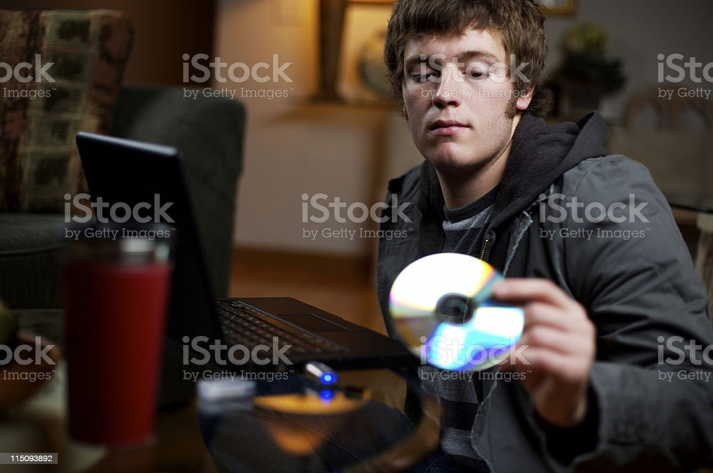young male technology portraits stock photo