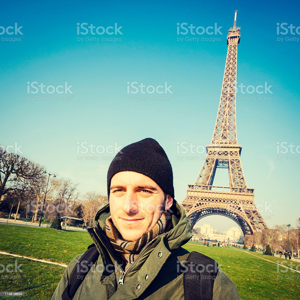 young male tourist at Tour Eiffel royalty-free stock photo