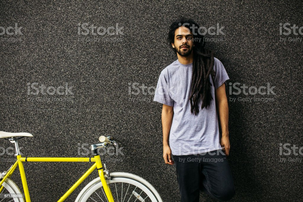 Young male with dreadlocks stock photo