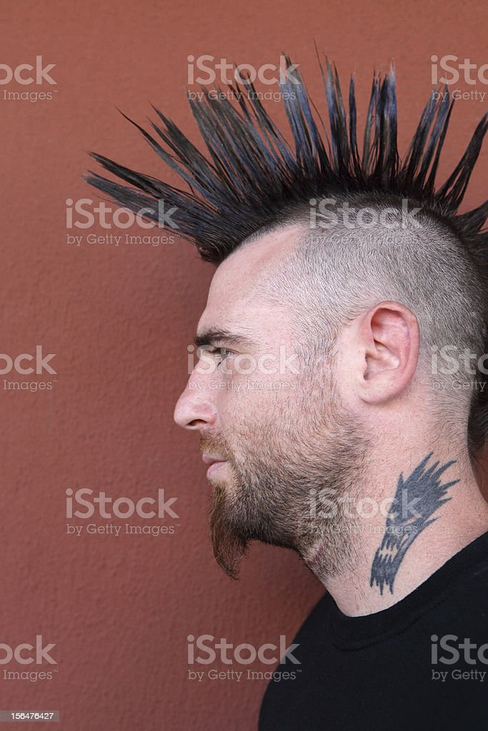 Young male with Mohawk stock photo