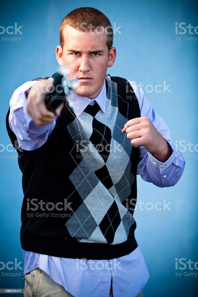 Young Male with Nunchucks. royalty-free stock photo