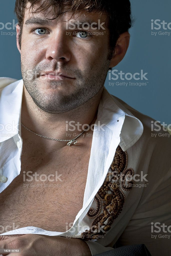 Young Male with Open Shirt stock photo