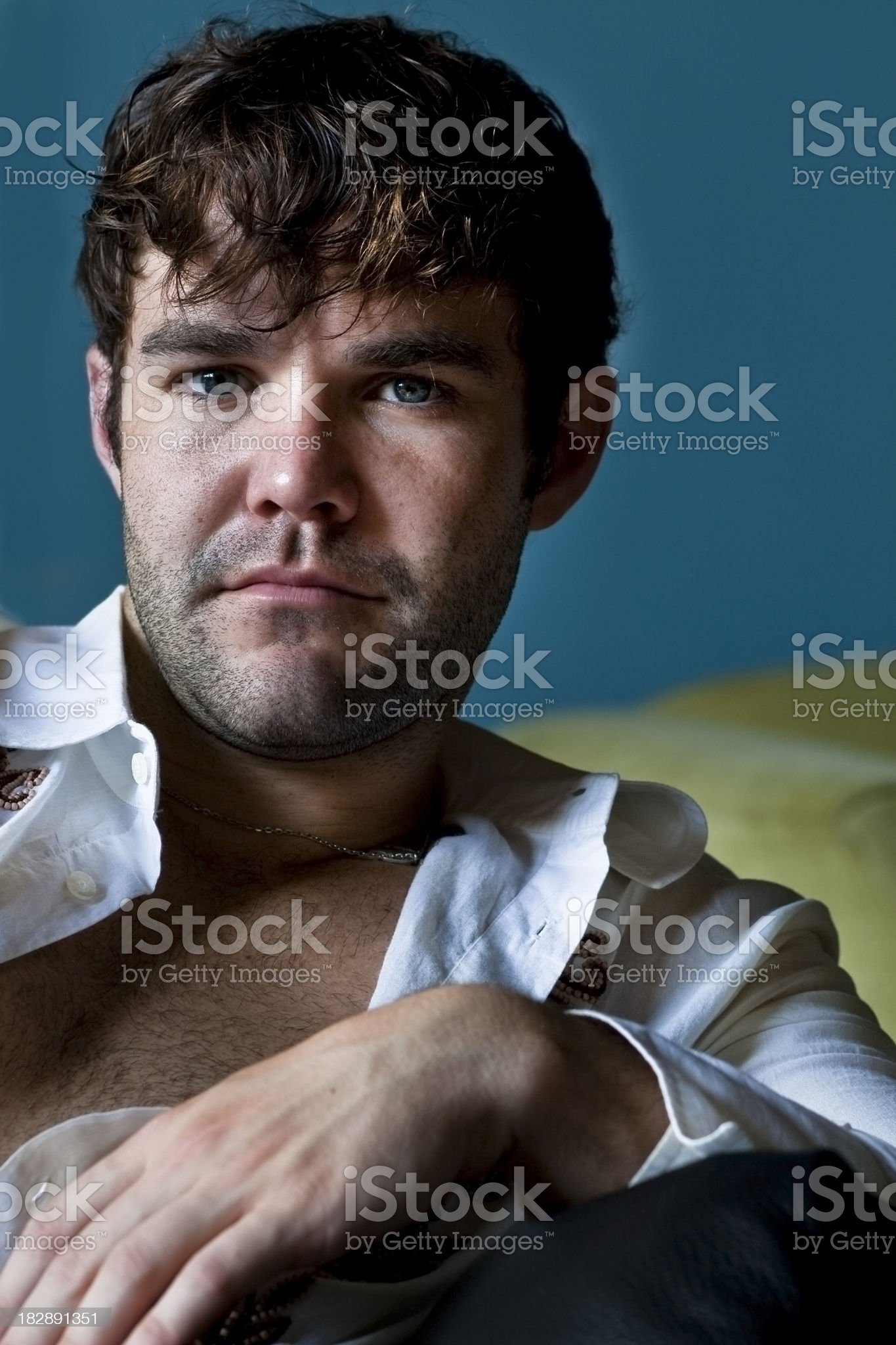 Young Male with Open Shirt royalty-free stock photo