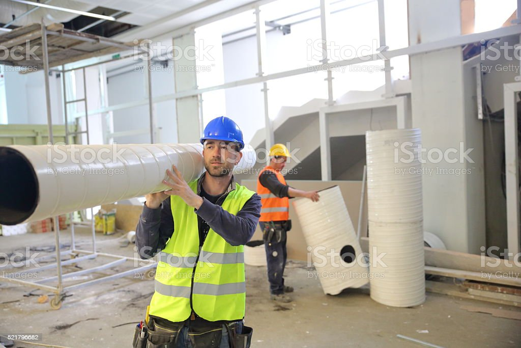 Young males construction worker stock photo
