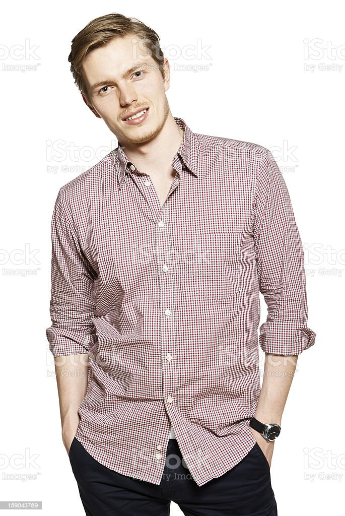 Young man against a white background royalty-free stock photo