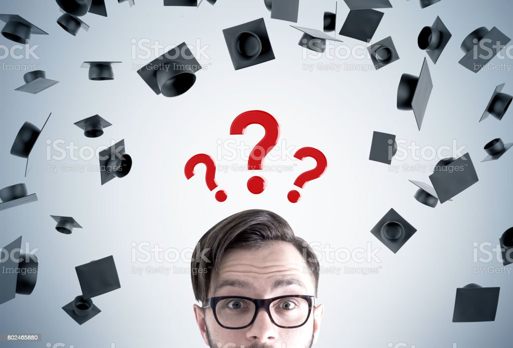 Young man and career choice stock photo