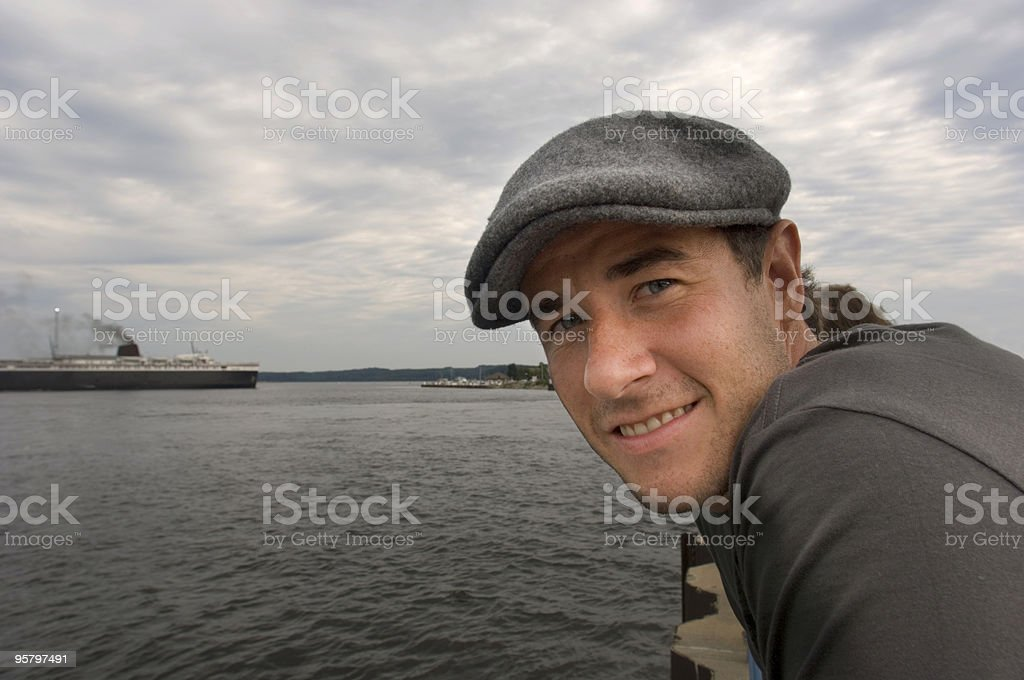 Young Man and Ship royalty-free stock photo