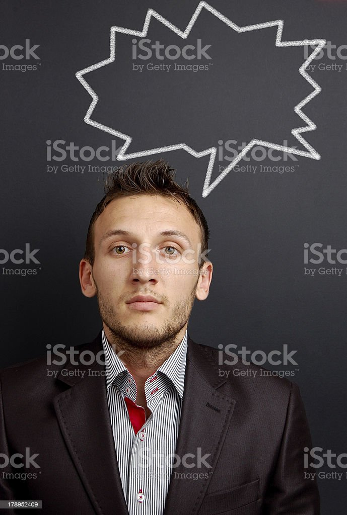 young man and speech bubble royalty-free stock photo