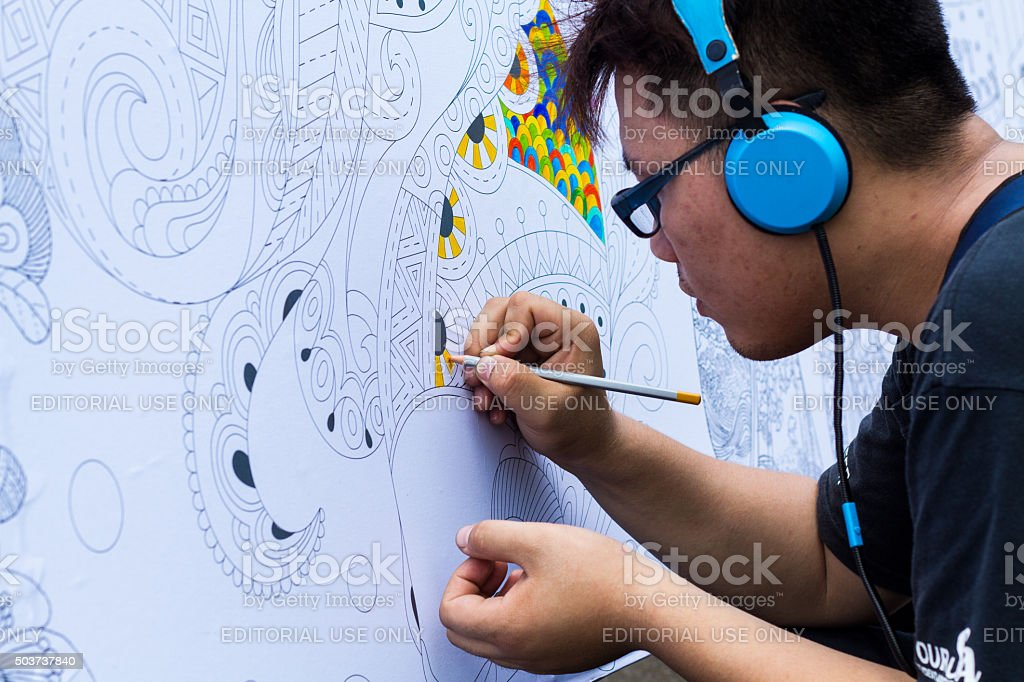 Young man artist stock photo