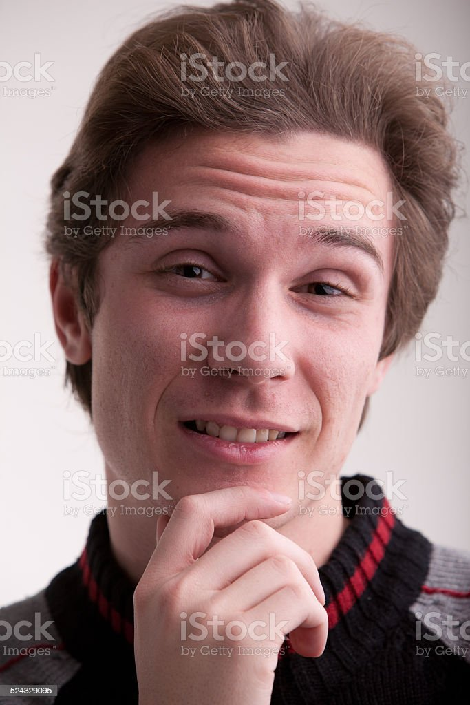young man asking you if you are sure stock photo