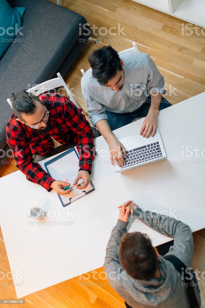 Young man at a job interview. stock photo