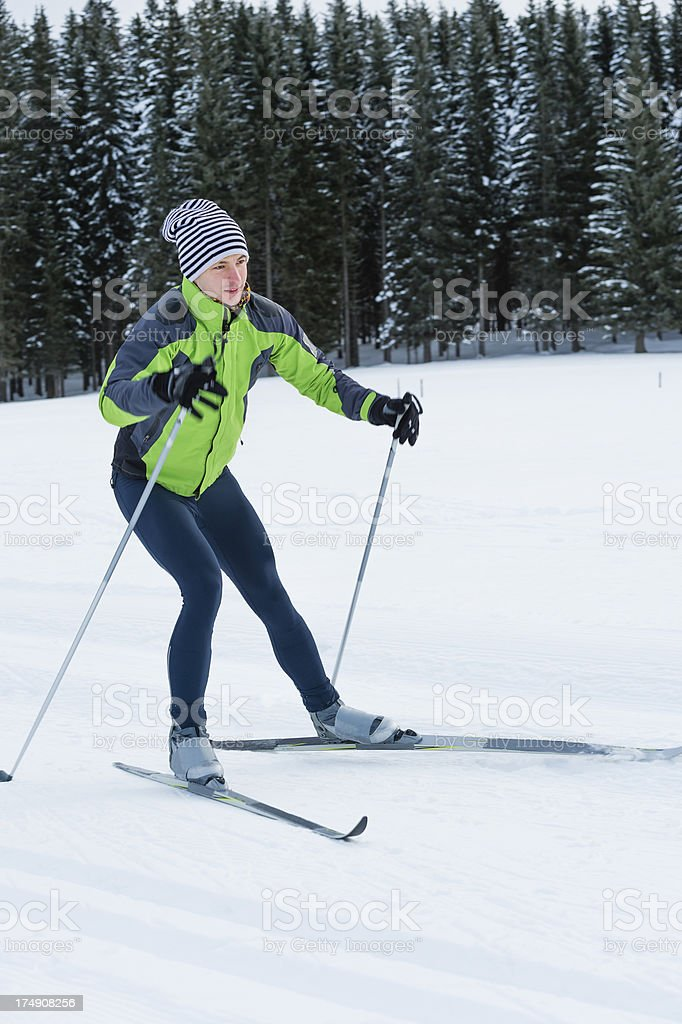 Young man at cross country skiing - skate style royalty-free stock photo