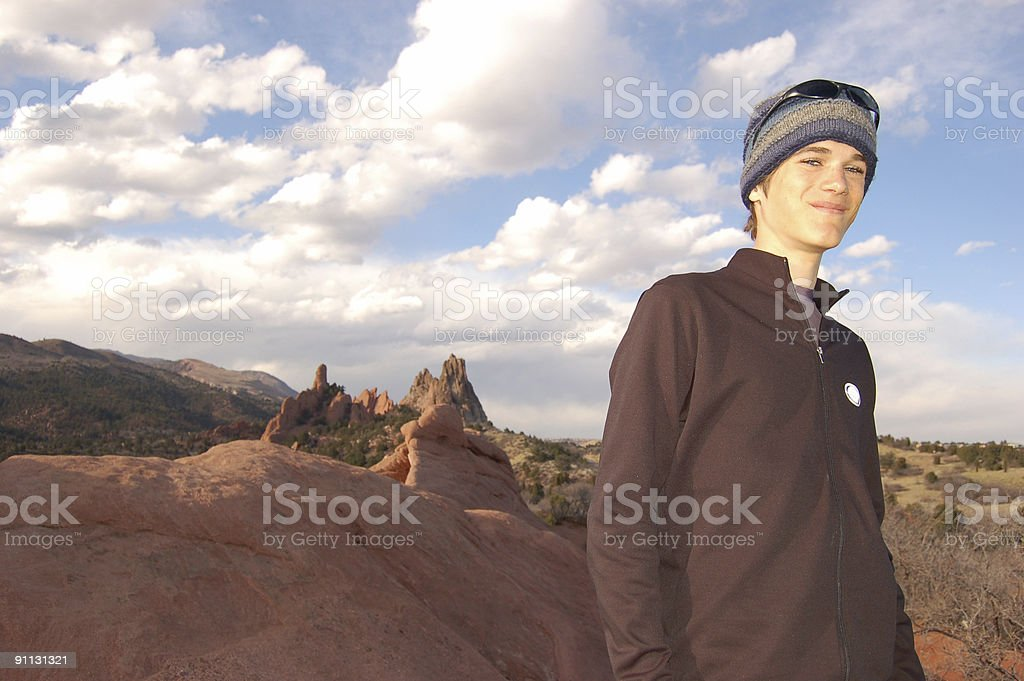 Young Man at Garden of the Gods stock photo