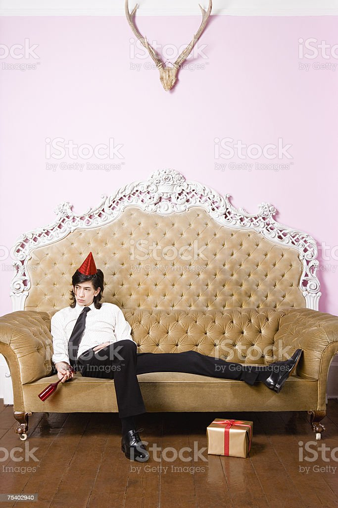 Young man at party stock photo