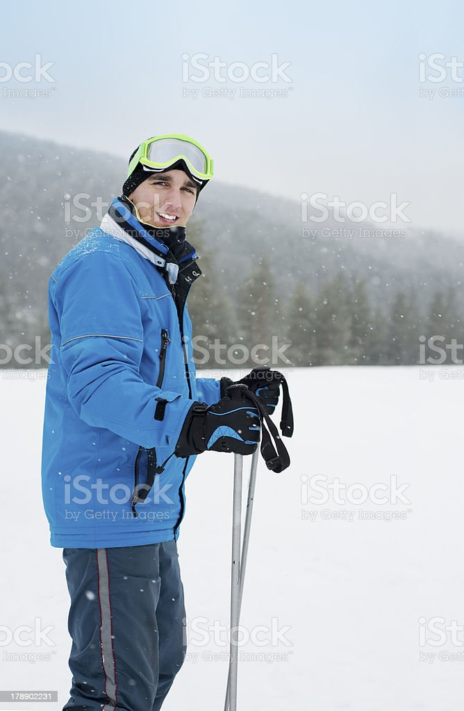 Young man at skiing royalty-free stock photo
