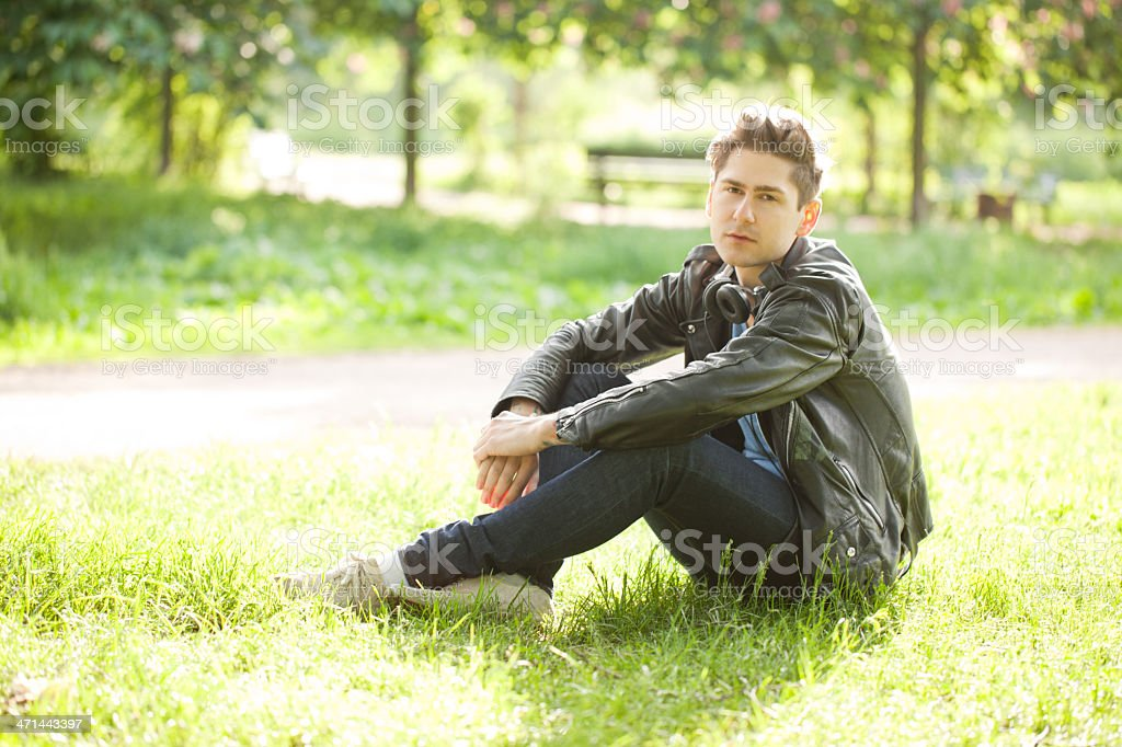 Young man at the park stock photo