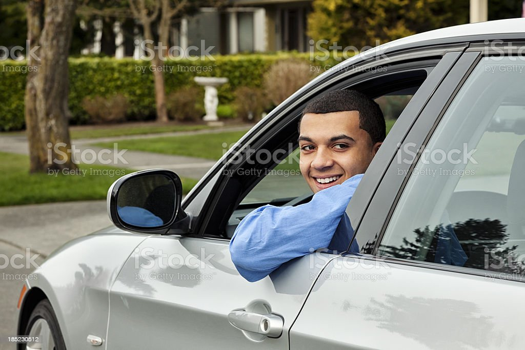 Young Man Behind The Wheel stock photo