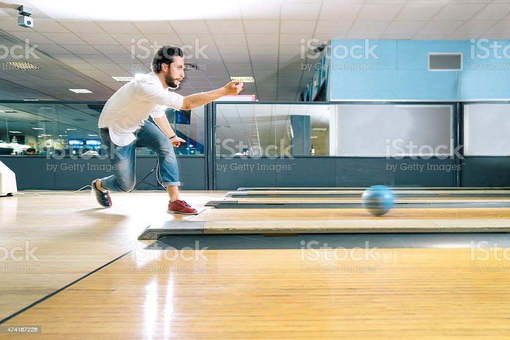 Young Man Bowling stock photo