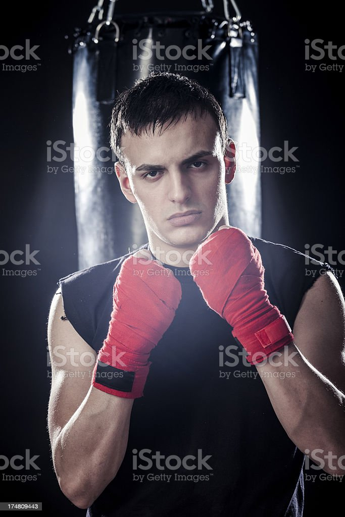 Young man boxing royalty-free stock photo