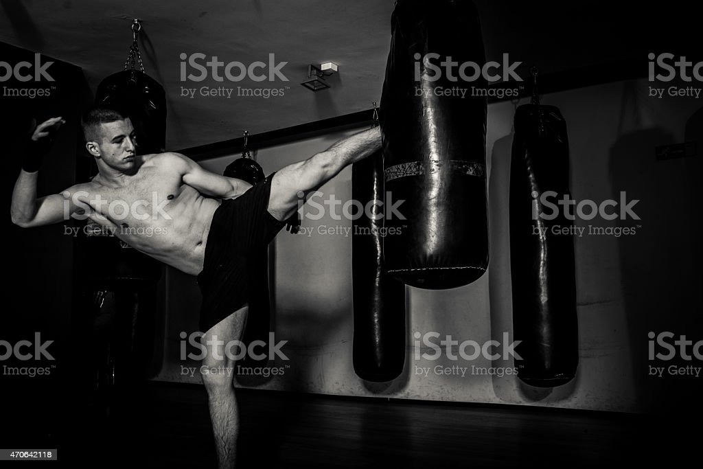 Young man boxing workout stock photo