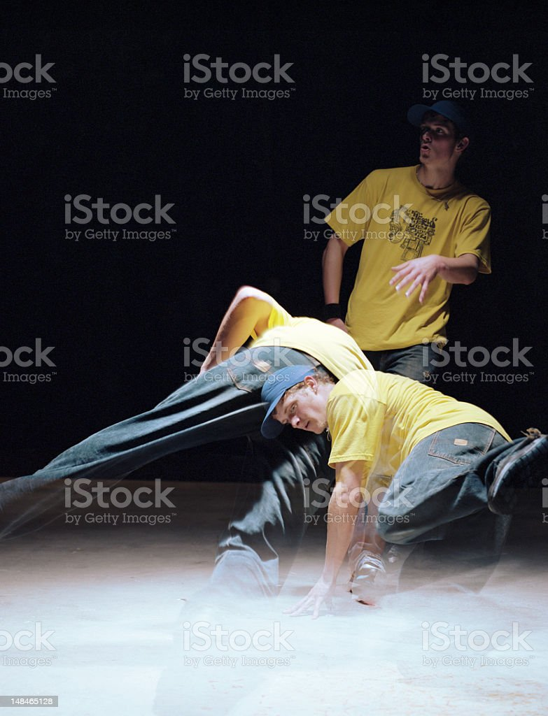 Young man breakdancing (long exposure) royalty-free stock photo