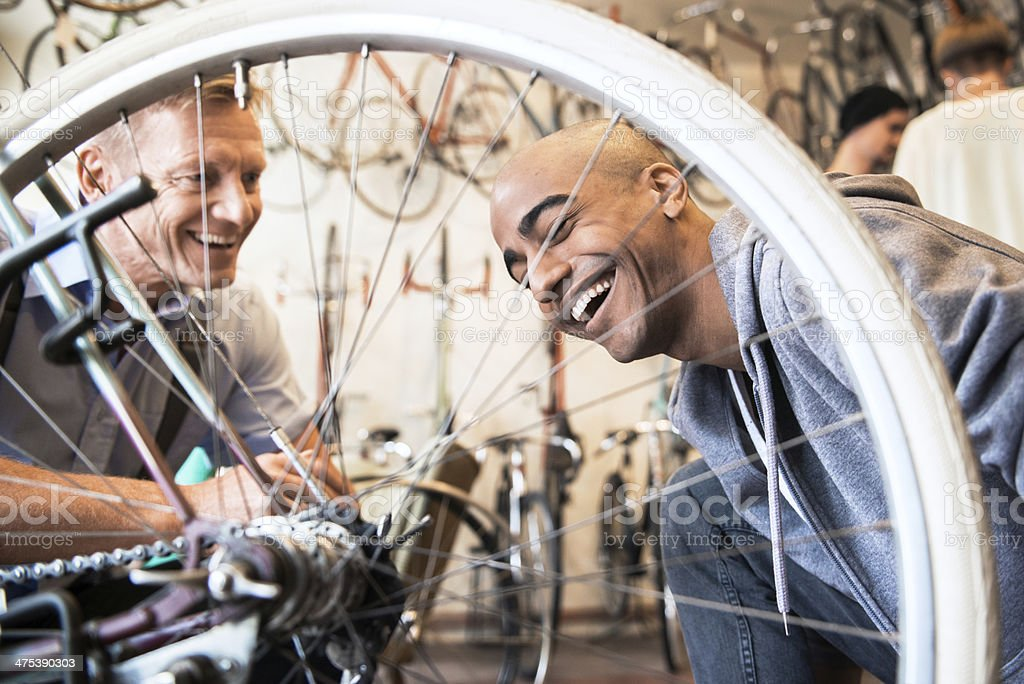 Young Man Buying Bicycle stock photo