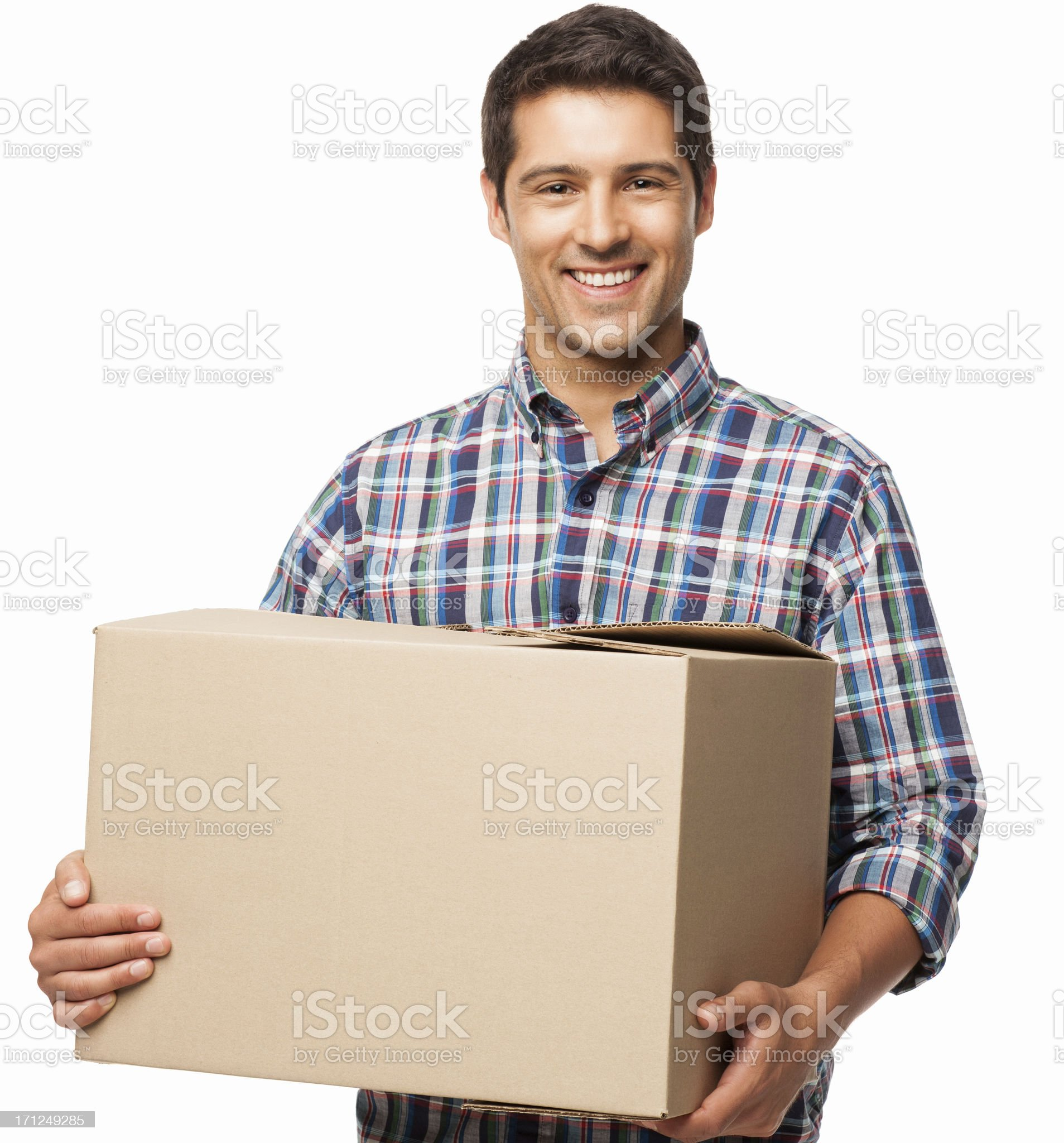 Young Man Carrying a Cardboard Box - Isolated royalty-free stock photo