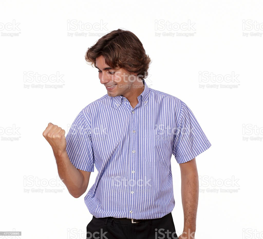 Young man celebrating with positive attitude royalty-free stock photo