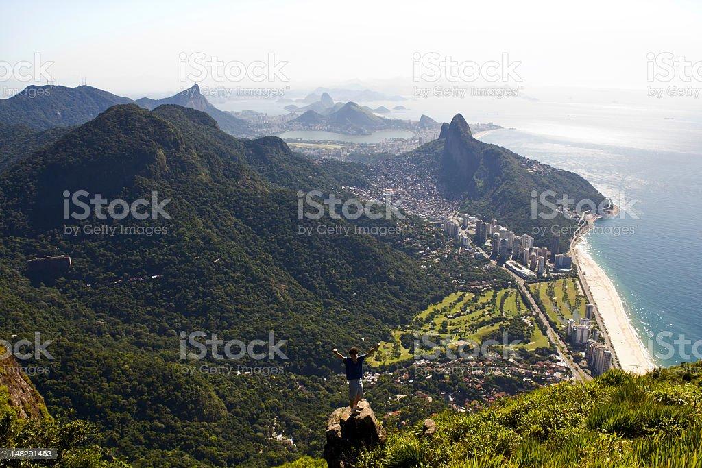 Young man cheering at Rio de Janeiro stock photo