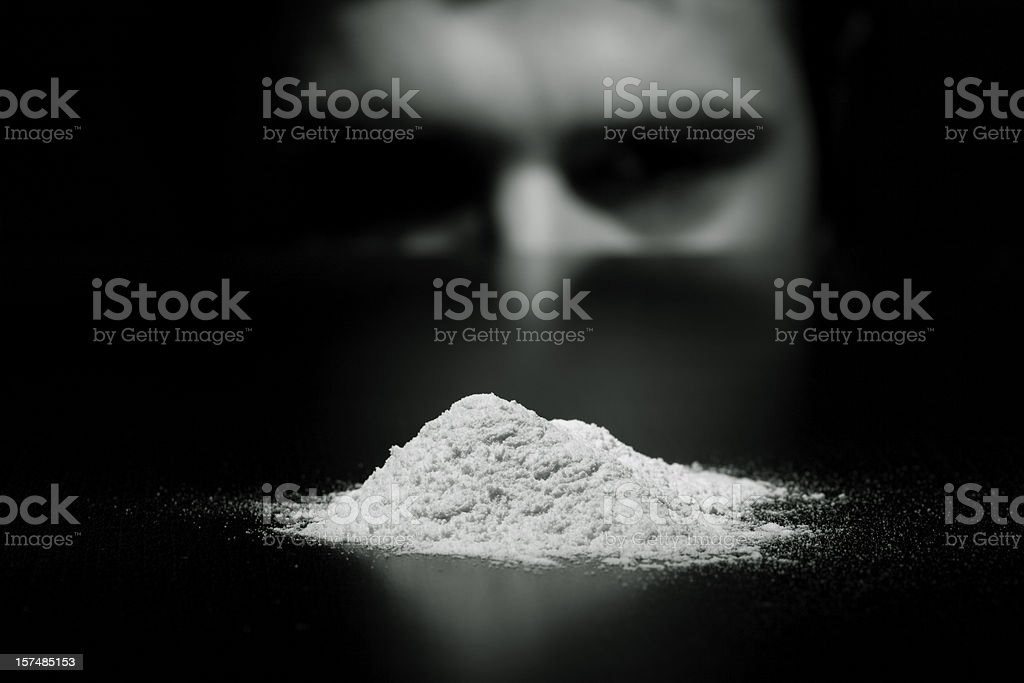 Young man cocaine addicted stock photo