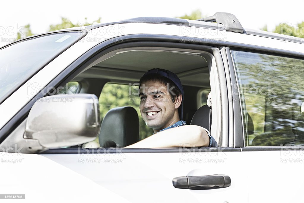 Young Man Commuter Driver College Student stock photo