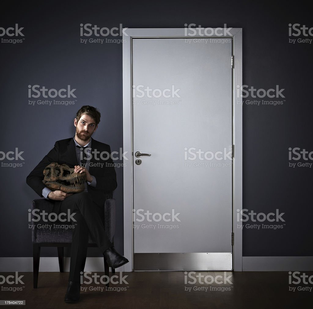 Young man controlling his killer instinct royalty-free stock photo