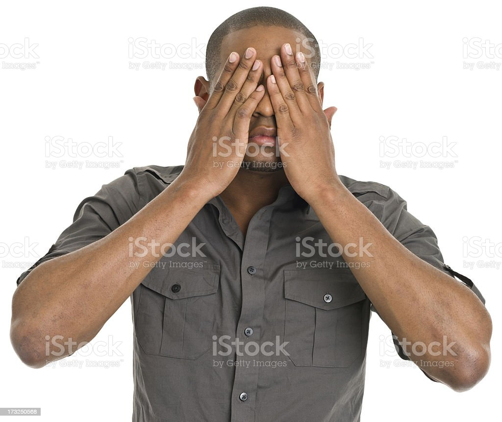 Young Man Covering Eyes royalty-free stock photo
