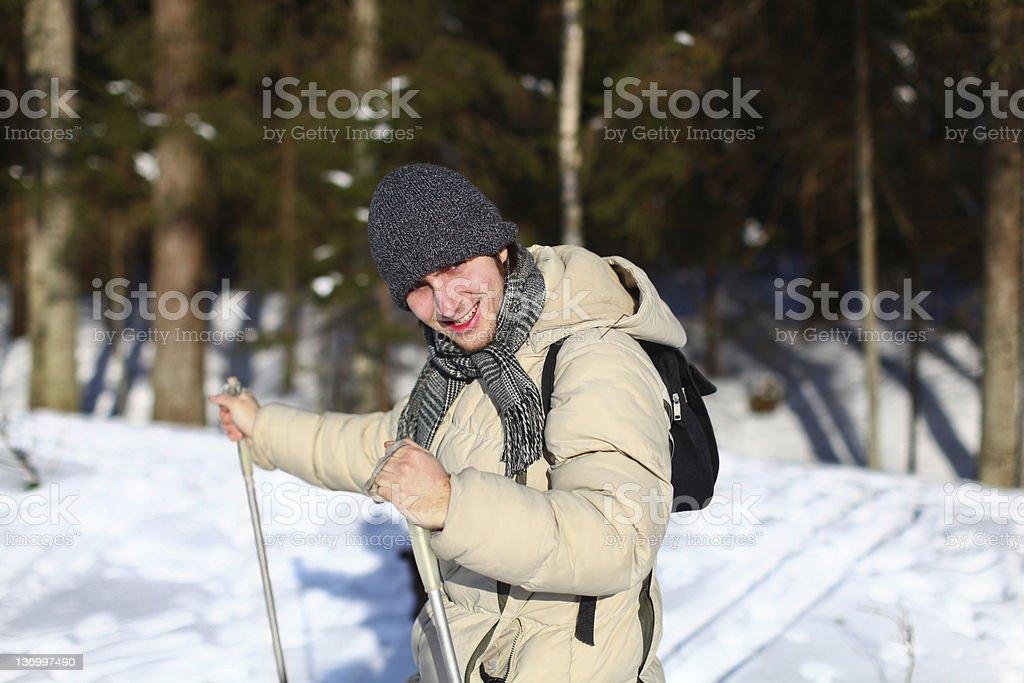 Young man cross-country skiing closeup royalty-free stock photo