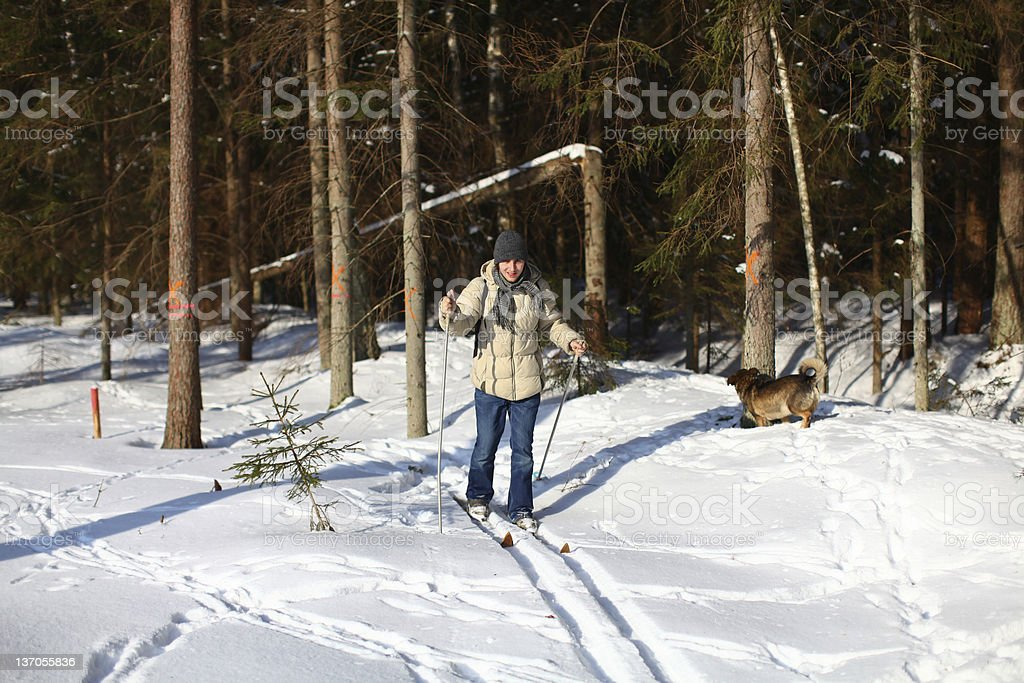 Young man cross-country skiing through the forest stock photo