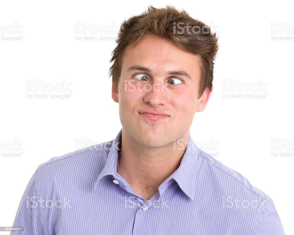 Young Man Crossing Eyes Headshot royalty-free stock photo